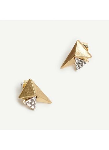 Yargıcı Taş Detaylı Geometrik Formlu Minik Küpe Altın